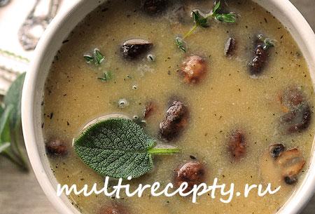 Фасолевый суп с курицей и грибами в мультиварке