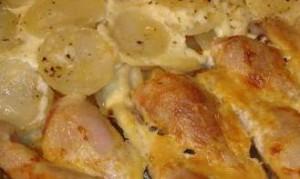 Картофель со сливками  в мультиварке