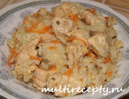Плов из курицы с грибами
