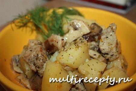 Картофель с курицей и грибами - вкусное блюдо для приготовления в мультиварке
