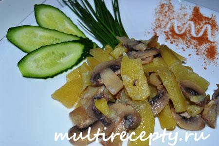 Картофель с грибами в мультиварке вкусное и популярное блюдо