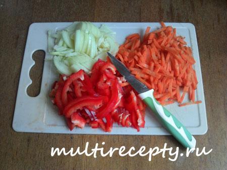 Овощи со спагетти в мультиварке