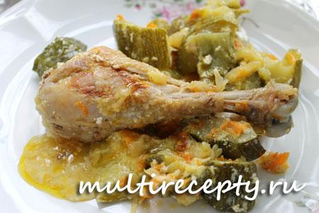 Рецепт кабачков с курицей в мультиварке