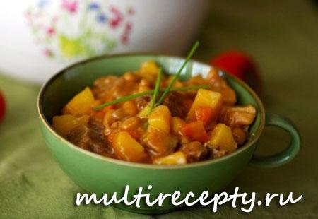 Тушеное мясо с овощами в мультиварке рецепт с фото