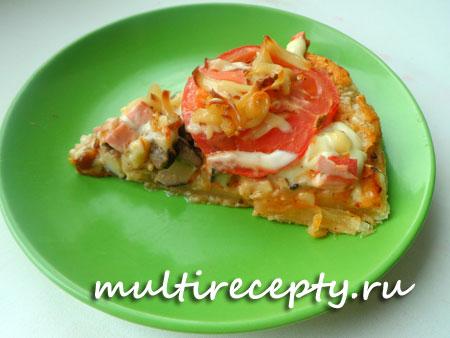 Домашняя пицца на слоеном тесте в мультиварке