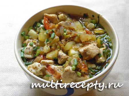 Тушеные кабачки с курицей рецепт