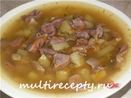 Суп из куриных сердечек в мультиварке