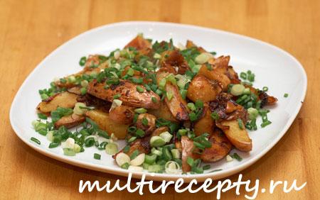 Жареная картошка в мультиварке с грибами