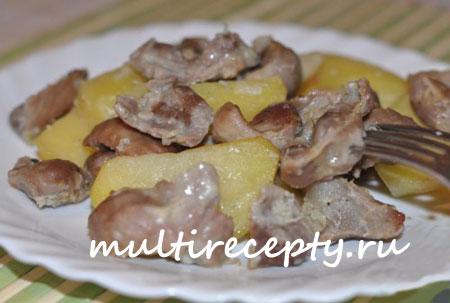 Рецепт куриных желудков в мультиварке с грибами