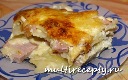 Гратен с беконом и курицей - рецепт приготовления